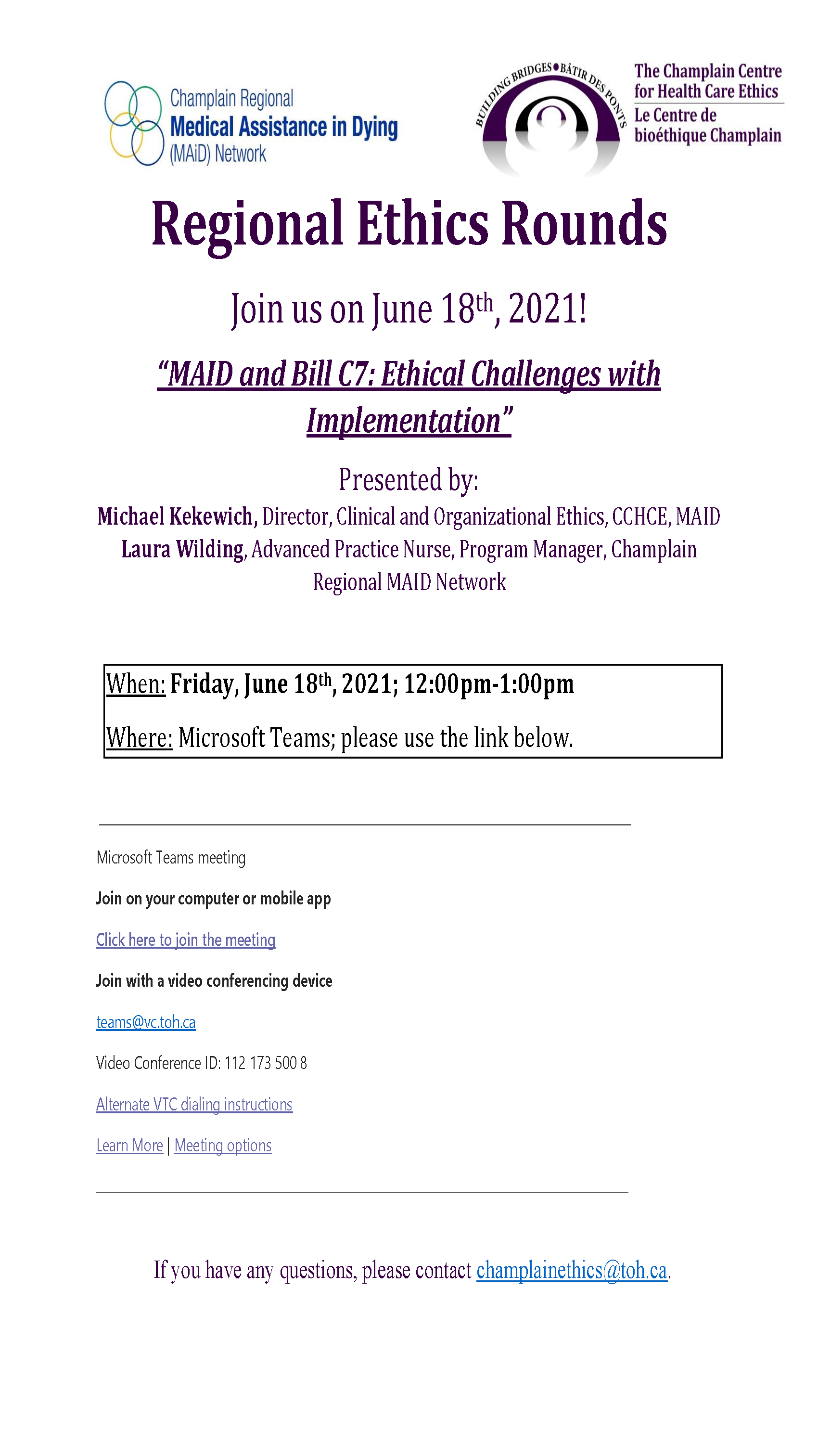 Regional Ethics Rounds MAID and Bill C20 Ethical Challenges with ...